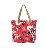 Myra Bag Tote Bag-Myra Coral Flower Print & Hide Hair