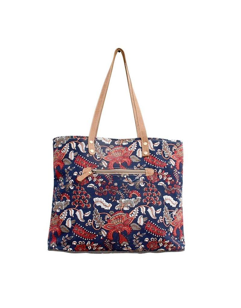 Myra Bag Tote Bag-Myra Tapestry Print & Hide Hair Tote