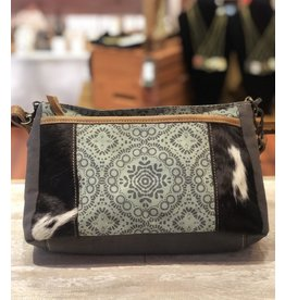Myra Bag Crossbody Bag-Myra Verdant Mandala Print & Hide Strip, Dual Strap