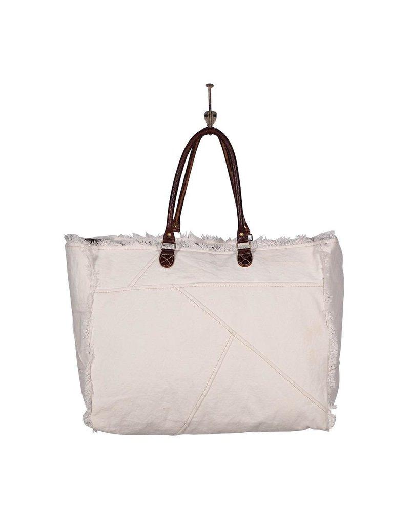 Myra Bag Weekender-Sel de Mer White Canvas Tote