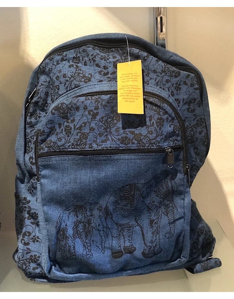 Kathmandu Imports Cotton Backpack-'Elephants'