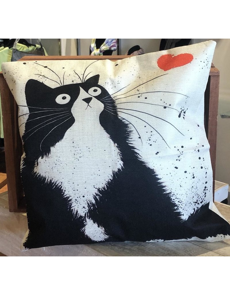"Pillow-Vintage Heart Cat 18""x18"""