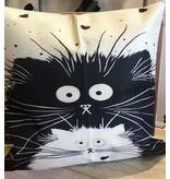 "Pillow-Vintage Cat Duo 18""x18"""