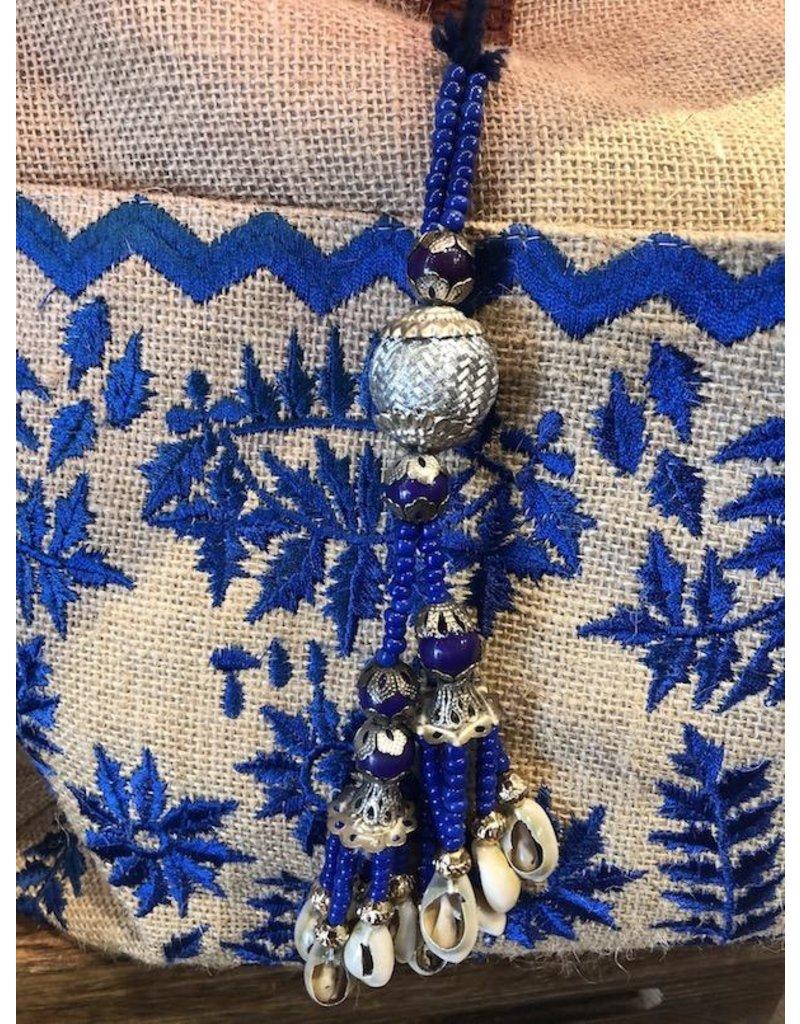 Muche et Muchette Tote-Jute Alma Emb w/Shells-Natural/Blue