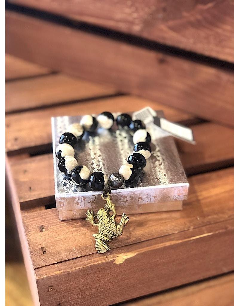 Lula n Lee Bracelet-Black Agate w/Brass Charms