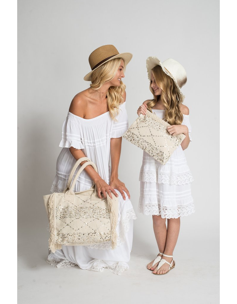 Muche et Muchette Tote-Catalina Embellished-White/Silver