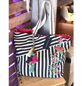 Chloe & Lex Tote-Embroidered Stripes & Tassels