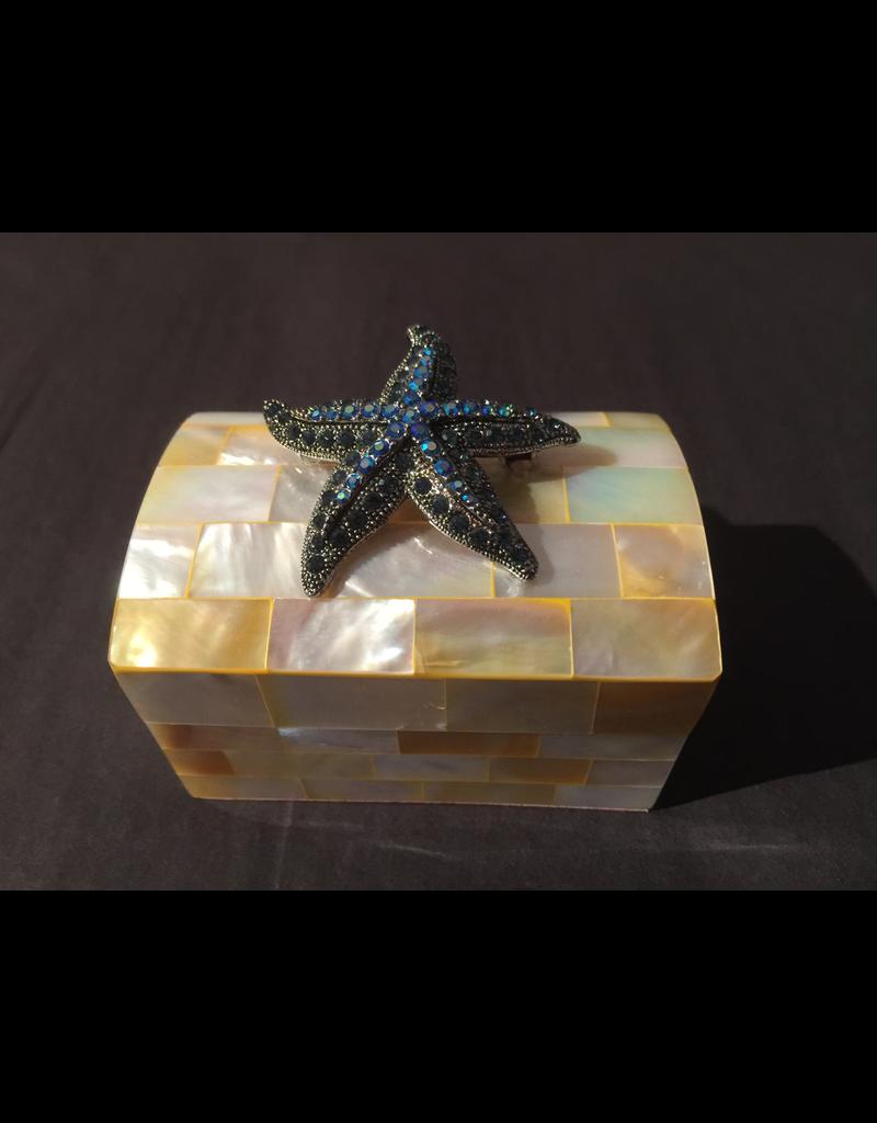 Troca Pearl Ring Box with Swarovski Crystal Starfish by Isabella Adams