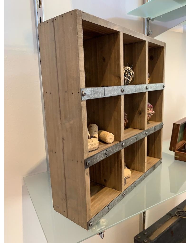 Cargo Collections Cubby Display Wood Box with Zinc Numbering