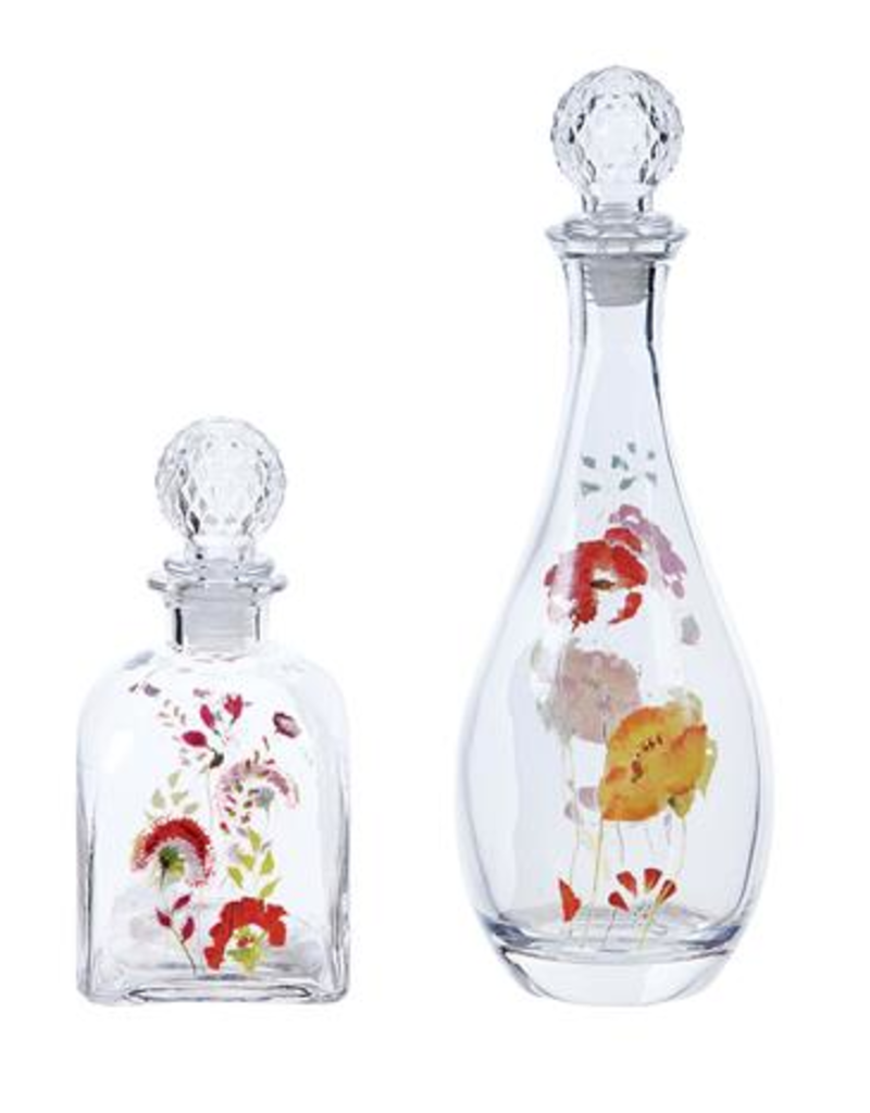 Glass Decanter with Floral Decal