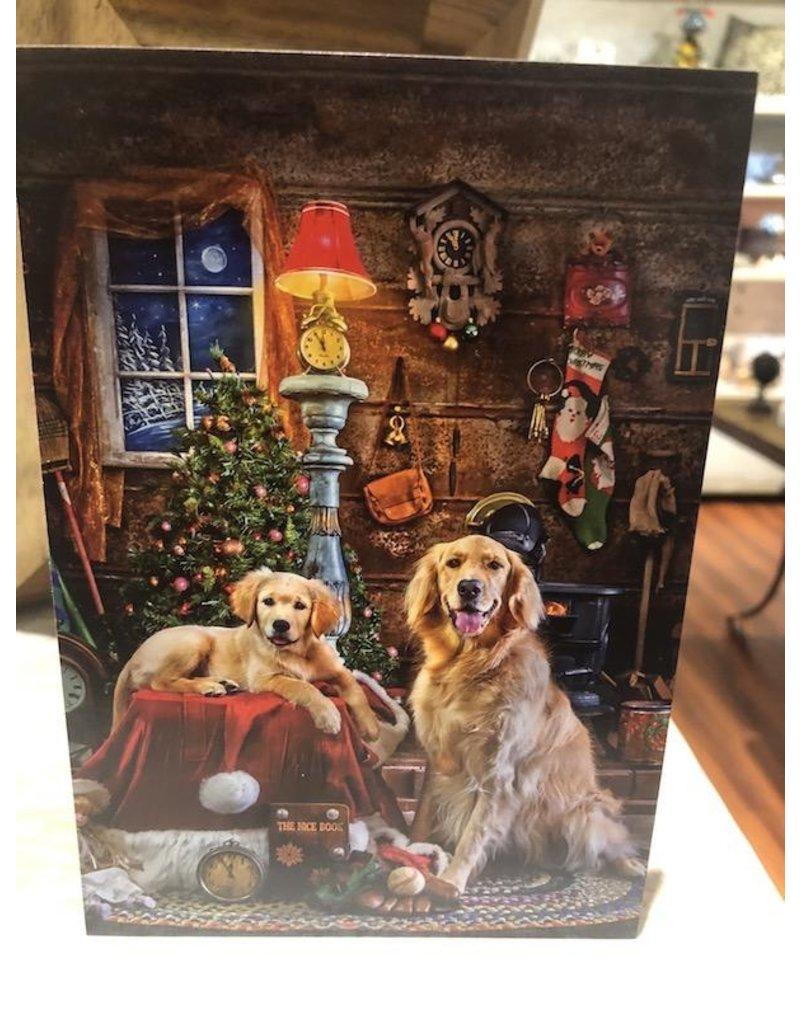 Leanin Tree Xmas Card: Old Fashioned Xmas, Golden Retrievers
