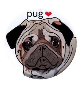 Good Eye Press Pinback Button-Pug Luv Dog Lover