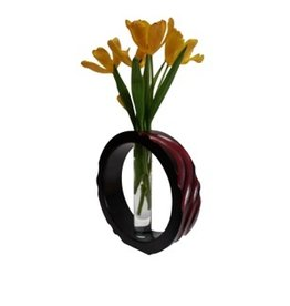"Circa Home 55 Mango Wood Wave Vase - ""Cherry"""