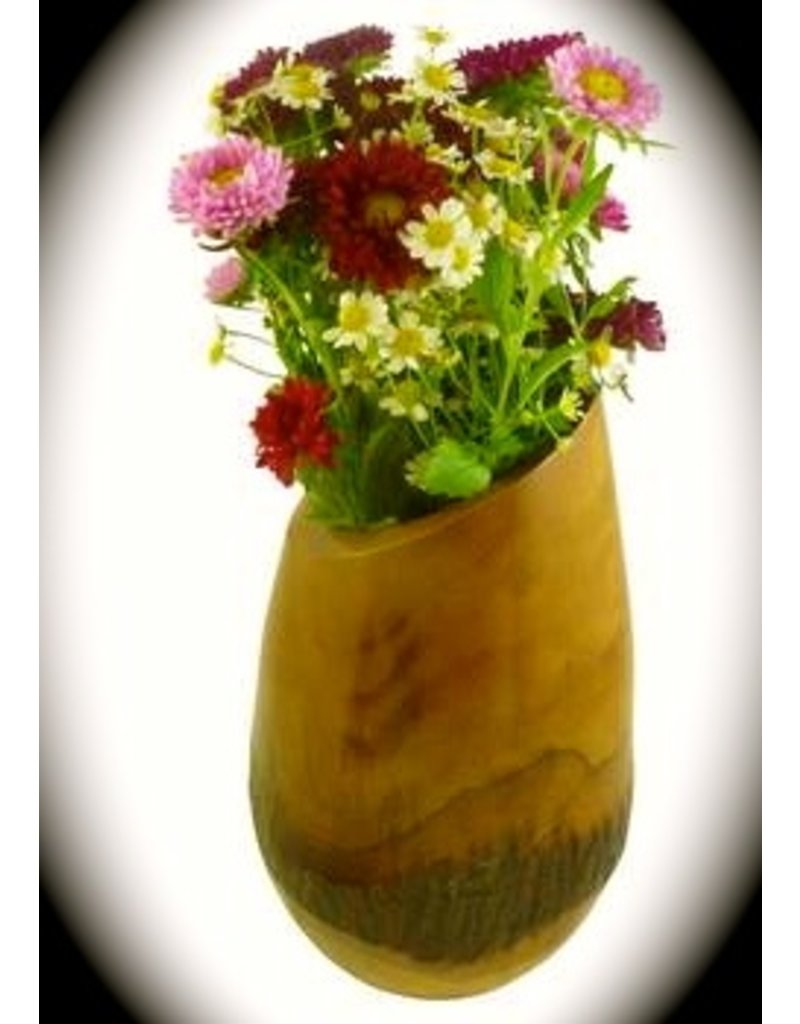 "Mango Wood Bark Vase - ""Honey"""
