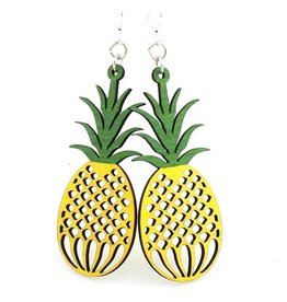 Green Tree Earrings Wood-Pineapple