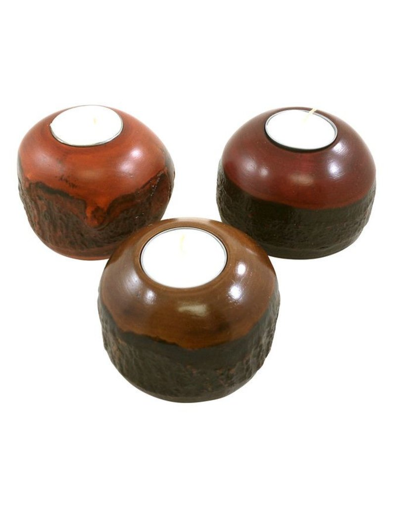 Round Bark Candle Holder-Cherry