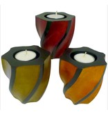 Wave Pillar Candle Holder-ORANGE