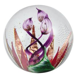 "Glass Eye Studios Glass Paperweight 3.5"" - 'Copper Blossom'"