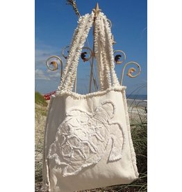 Canvas Beach Tote - Ivory with Ivory Sea Turtle