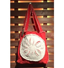 Canvas Beach Tote - Coral with White Sand Dollar
