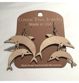 Green Tree Earrings Wood-Dolphins (Natural)