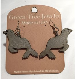 Green Tree Earrings Wood-Sea Lion (Grey)