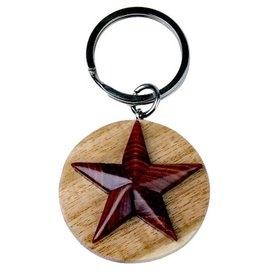 Wood Star Key Chain
