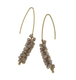 Canvas Jewelry Earrings-Cluster Drop-Grey Glass