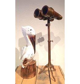 Binoculars on Stand Brass/Leather