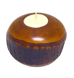 Circa Home 55 Round Bark Candle Holder-Honey