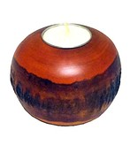 Round Bark Candle Holder-Orange