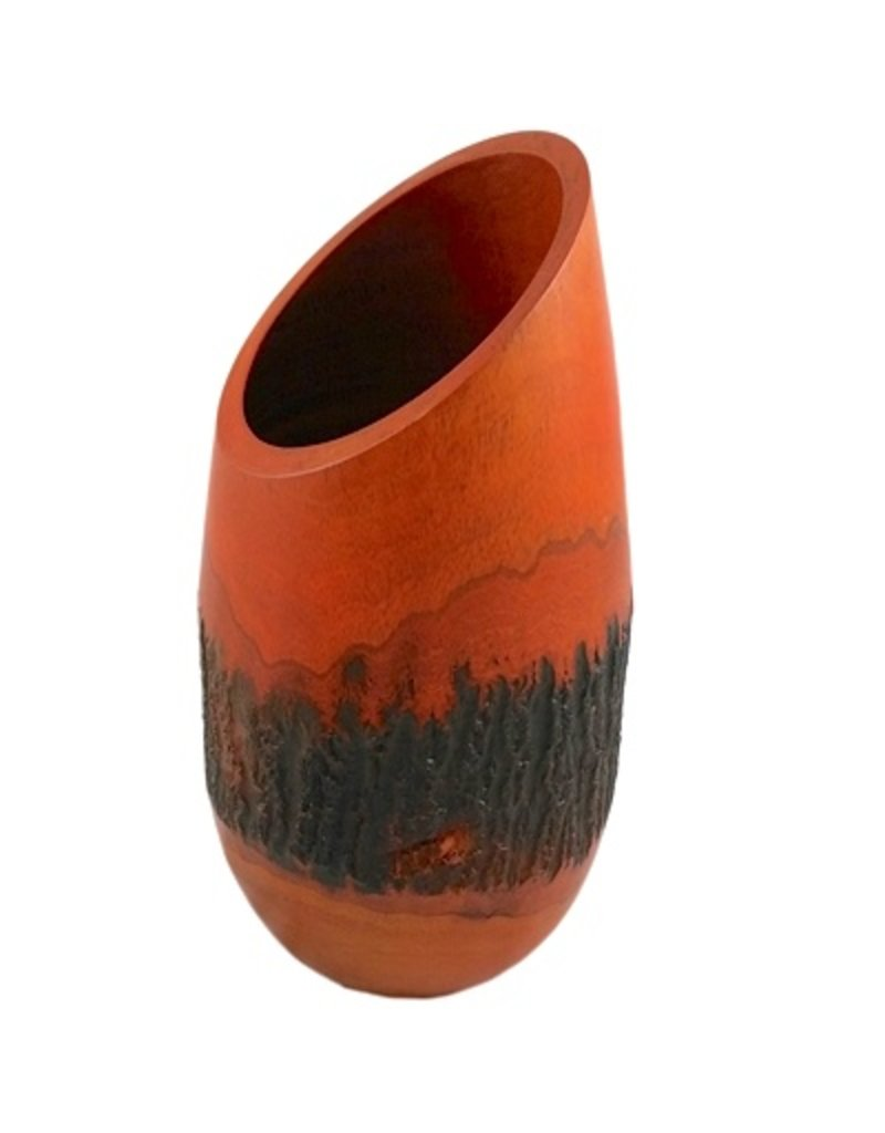 "Mango Wood Bark Vase - ""Orange"""