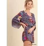 Umgee USA Romper-Floral Print, V-Neck, Tassel Tie Waist