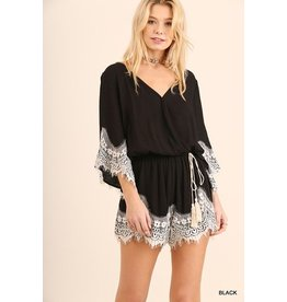 Cloudwalk Romper-Lace Trim & Tassel Tie