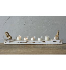 Distressed Wood Votive Holder w/5 Glass Cups