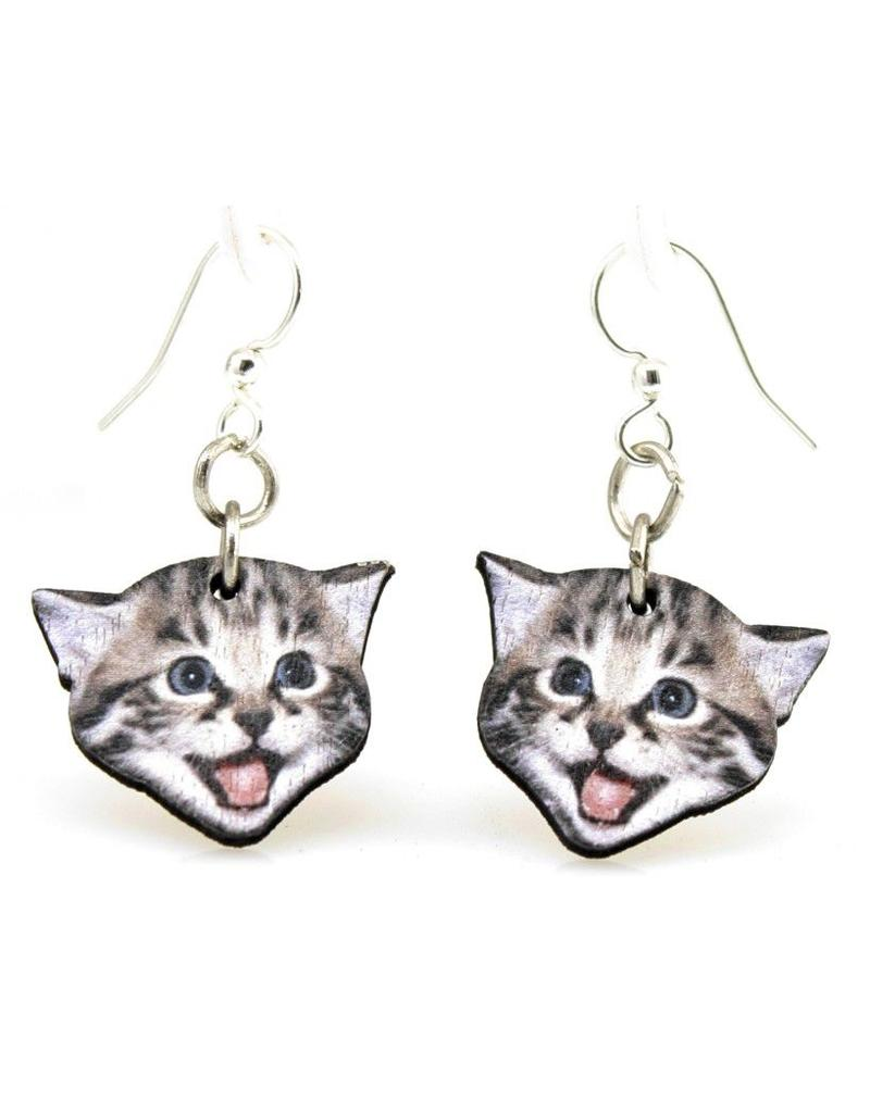 Green Tree Earrings Wood-Playful Kitten