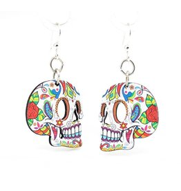 Green Tree Earrings Wood-Sugar Skulls Profile