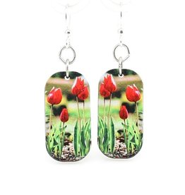Green Tree Earrings Wood-Tulips Blossoming