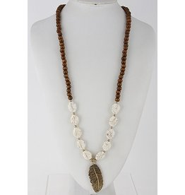 Anzell Fashion Necklace-Long Stone Beaded w/Gold Metal Leaf, Ivory