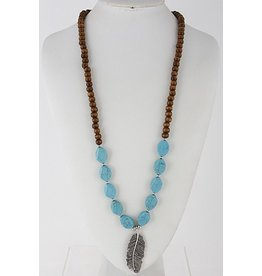 Anzell Fashion Necklace-Long Stone Beaded w/Silver Metal Leaf, Turquoise
