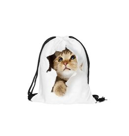 Sihnderella Drawstring Bag-Digital Hole Cat