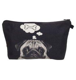 Make Up Bag-Digital Pug Dog Bone