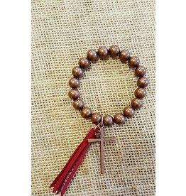 Turquoise Haven Bracelet-Cross & Tassel Beads
