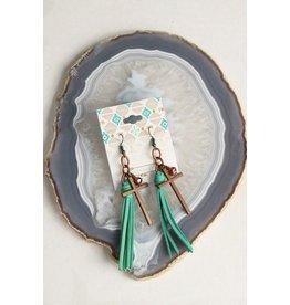 Turquoise Haven Earrings-Tiny Tassel Cross