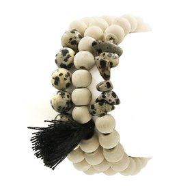 ArtBox Jewel Bracelet-SET (3) Stone, Wood, Tassel