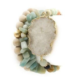ArtBox Jewel Bracelet-SET (3) Druzy, Stone, Wood