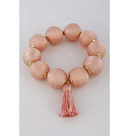 H&D Accessories Bracelet-Cotton Ball & Tassel, Peach