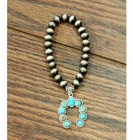 Isac Trading Bracelet-Navajo Pearl, Squash Blossom & Turquoise