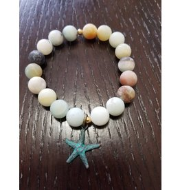 Brown Eyed Gal Bracelet-Amazonite & Greek Patina Starfish