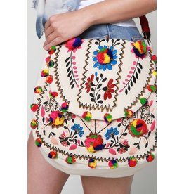 Urbanista Shoulder Bag-Boho Multi Color Pom Pom & Flowers